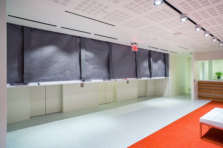 Fire and Smoke Curtain with swing Egress