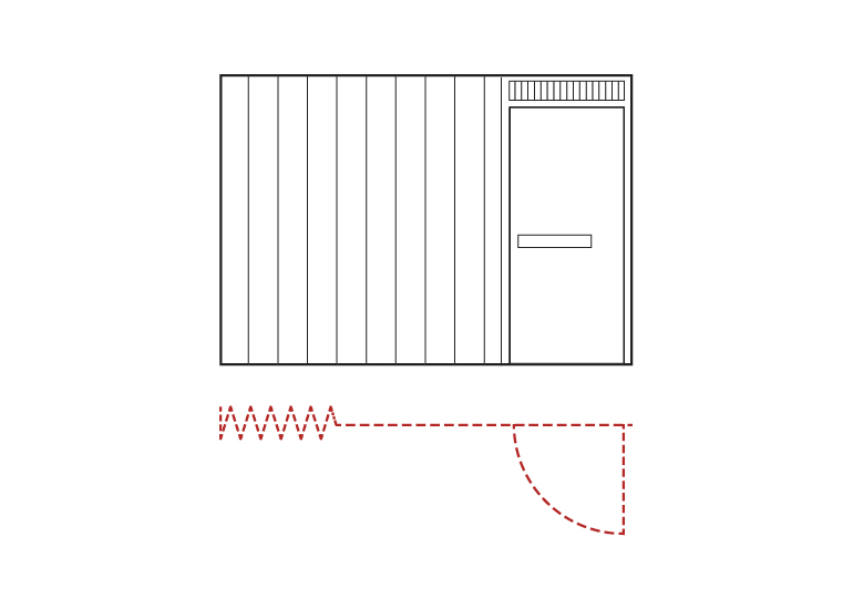 elevation view AC8700 Side Acting Fire and Smoke Rated 3hr UL10B Accordion door